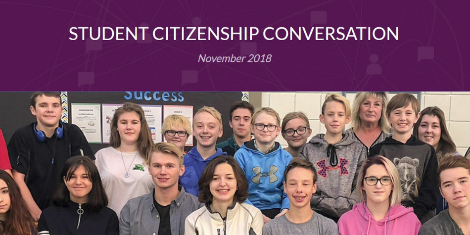 Student citizenship conversation with group of Swan Hills School students