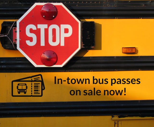 In-town bus passes on sale